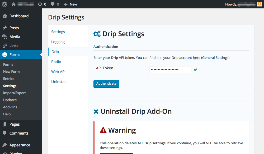 Official WordPress Drip Plugin
