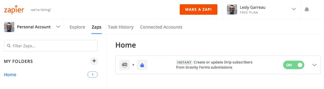 Zapier Drip & Gravity Forms Zap