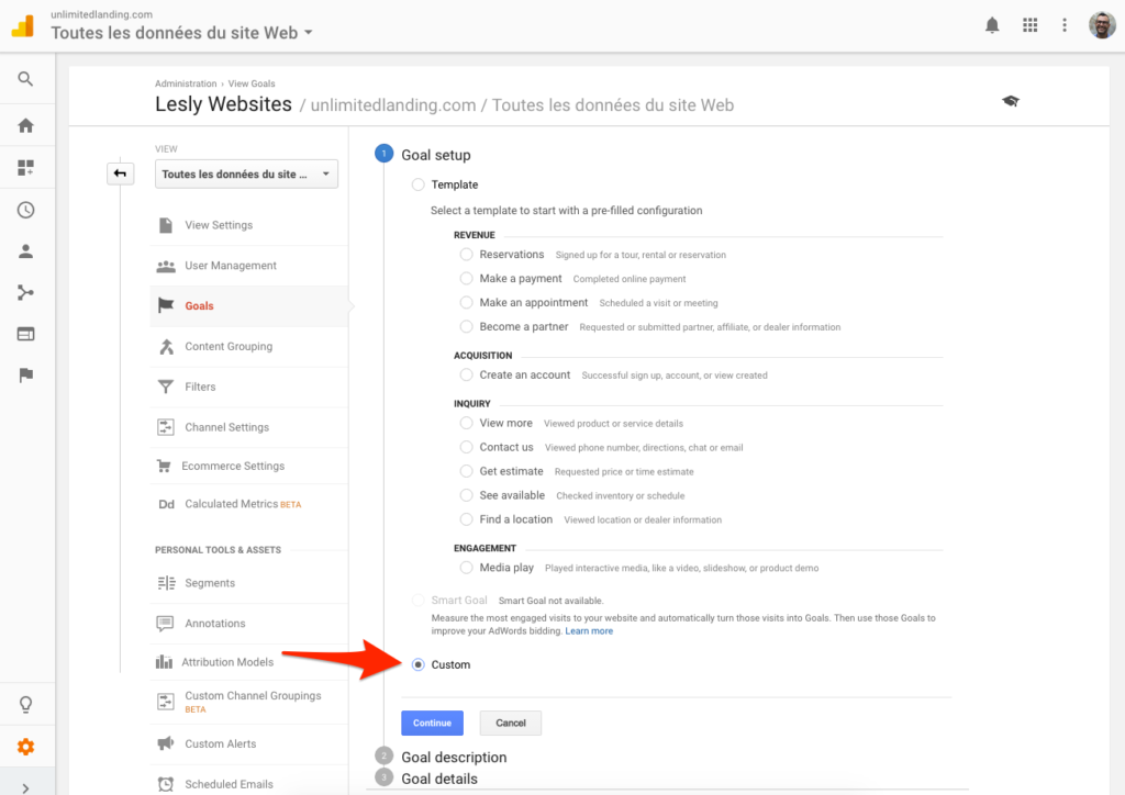 Create a goal in Google Analytics 4