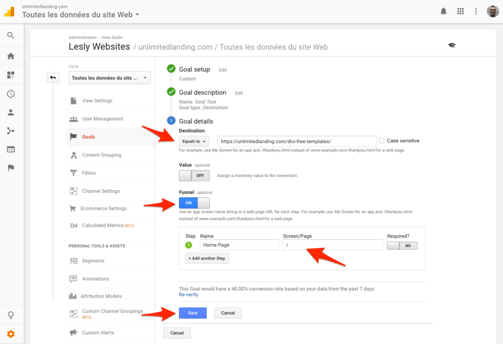 Create a goal in Google Analytics 6